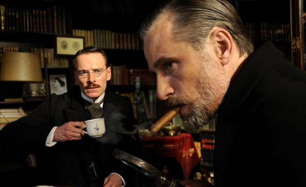 Michael Fassbender as Carl Jung and Viggo Mortensen as Sigmund Freud