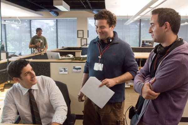 Writers/Directors Jon Hurwitz and Hayden Schlossberg on set with Jason Biggs.  Most likely brainstorming over which office supply he should stick his junk into.