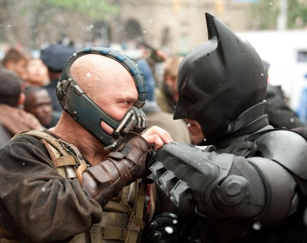 Bane (Tom Hardy) and Batman (Christian Bale) fight for the soul of Gotham