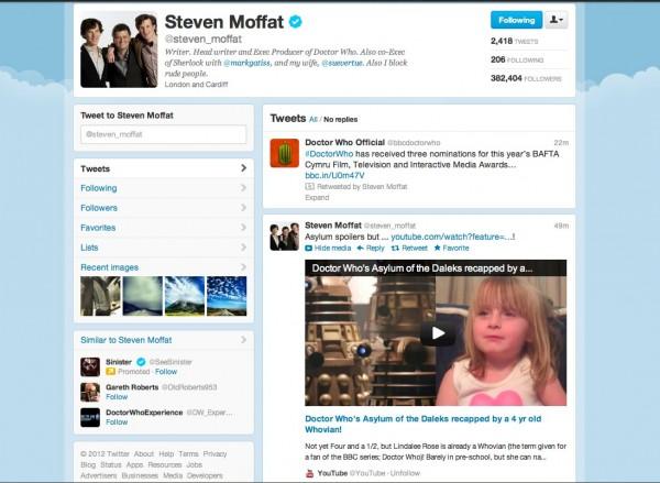 Steven Moffat's Twitter Page