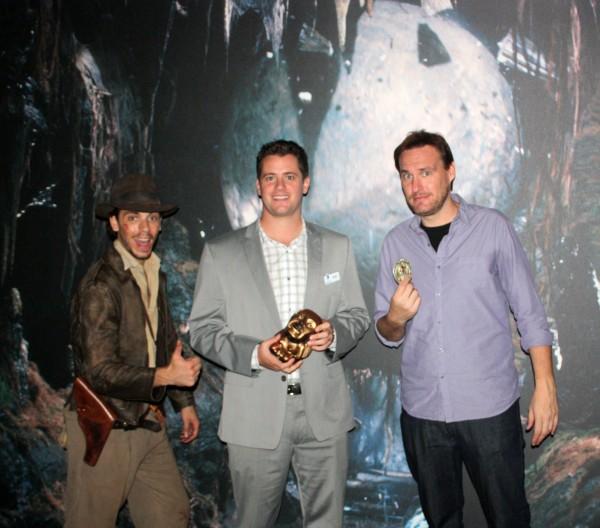 (L to R) AJ Locascio, Dan Nasitka, Jon Donahue at the Indiana Jones Prop/Costume Science Exhibition