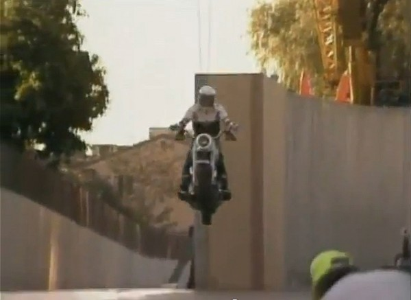 A behind-the-scenes shot of the 'T2' Harley jump rehearsal.
