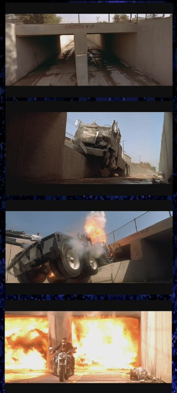 A combination of film and behind-the-scenes stills showing the truck crash site for 'T2'.