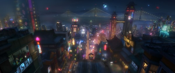 "SAN FRANSOKYO AT NIGHT – Pictured in concept art, the high-tech city of San Fransokyo is home to brilliant robotics prodigy Hiro Hamada and his team of first-time crime fighters in Walt Disney Animation Studios' action comedy adventure ""Big Hero 6""—in theaters in 3D on Nov. 7, 2014."