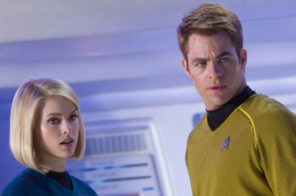 Alice Eve as Carol and Chris Pine as Captain Kirk in STAR TREK INTO DARKNESS