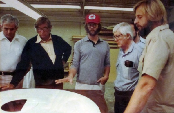 During construction of Enterprise: L to R,  Phil Rawlins, Gene Rodenberry, Richard Taylor, Robert Wise, Bob Abel.