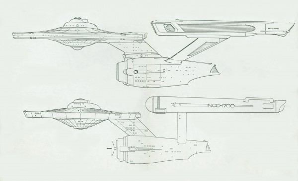 Comparison of Star Trek Television Series Enterprise and Star Trek the Motion Picture redesign. New Enterprise design: Richard Taylor, Andy Probert.