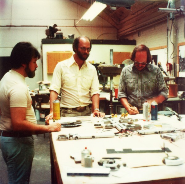Reviewing model construction at Magicam model shop. L-R Andy Probert, Richard Taylor, Jim Dow.
