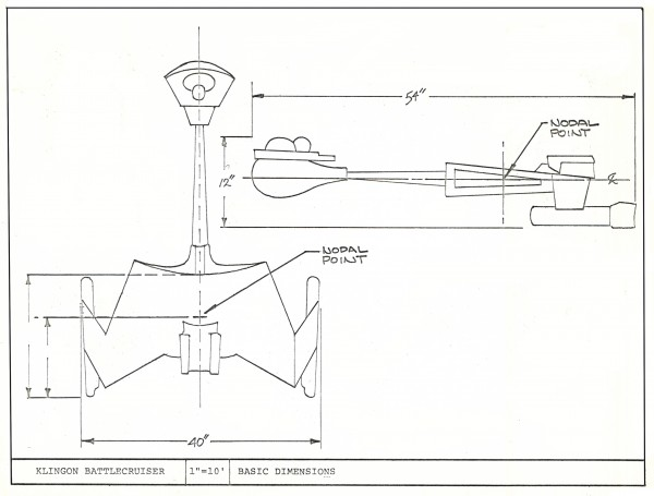 Illustration showing the dimensions of the Klingon Cruiser from Miniature Manual. Artist: Paul Krause.