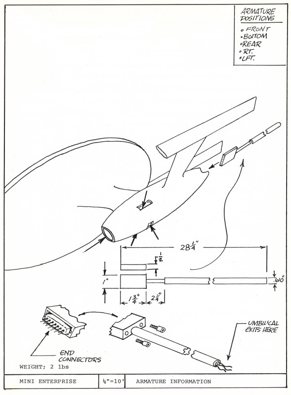 Illustration of Armature attachment for Space Office Complex model from the Miniature Manual. Artist, Engineer: Paul Krause.