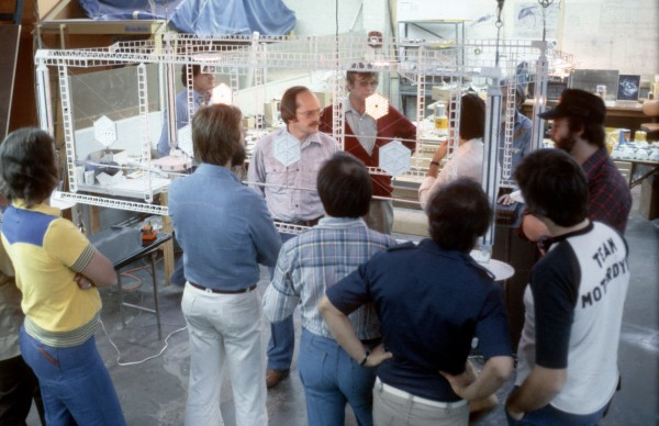 Magicam Model Review of models that were under construction for the television movie. LR, Don Baker, Joe Matsa, Bob Abel, Jim Dow, Gene Rodenberry, Kerry Melcher. Far right with cap Richard Taylor