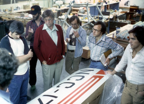 Magicam Model Review. Looking at Enterprise entrance portal model. LR, Bruce Logan, Richard Taylor, Gene Rodenberry, Mike Lawler, Unknown, Kerry Melcher.