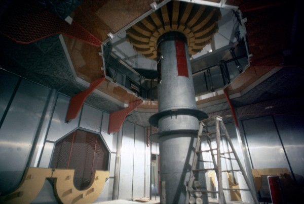 Photo of original engine room set for television movie.  This set was partially redesigned for the feature.
