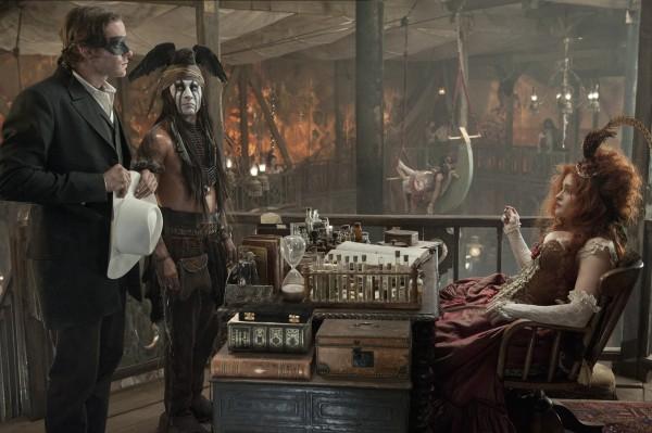 Tonto and Lone Ranger pay a  visit to Madam Red Harrington (Helena Bonham Carter)
