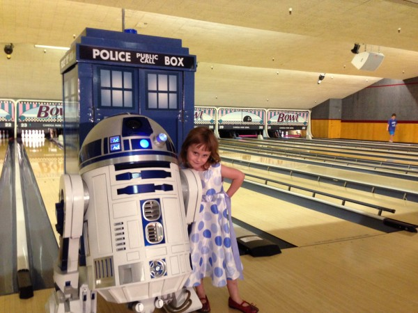Lindalee poses with R2-D2 at the Bowling Event