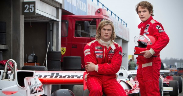 Chris Hemsworth as James Hunt and Daniel Bruehl as Niki Lauda