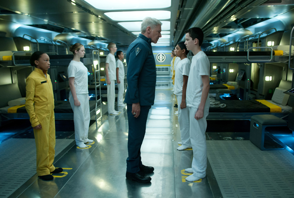 Colonel Graff (Harrison Ford) chews out Ender (Asa Butterfield) over a misdeed