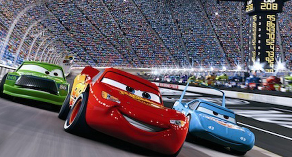 McQueen leading the pack during the Piston Cup & Lightning McQueen Takes the Checkered Flag in CARS 3D Blu-ray (Video ...