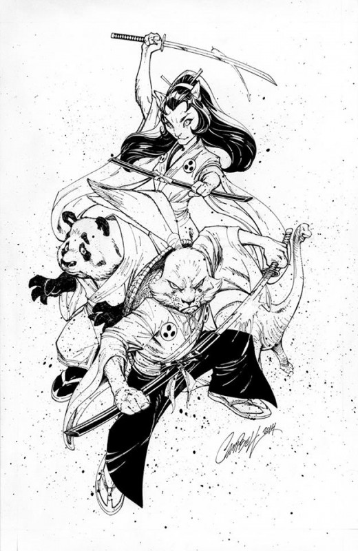 """CAPS_J_Scott_Campbell_Usagi.jpg""  -  Known for his exquisite work with female characters, J. Scott Campbell created this wonderful ink drawing to benefit Sharon & Stan Sakai in the CAPS auction."