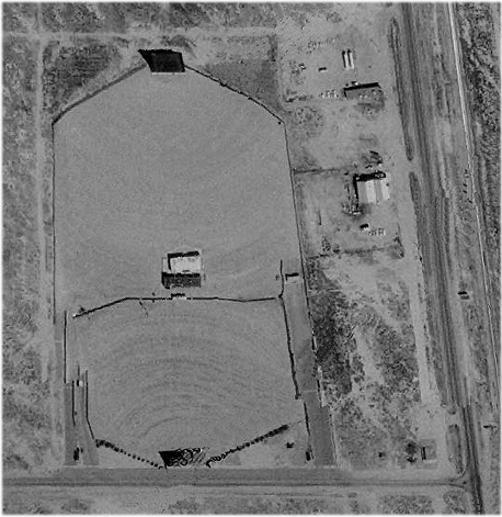An aerial view of the Lancaster Drive-In circa 1974.