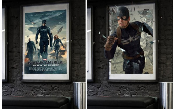 Static 2-D Poster Explodes into 3-D with the Captain America Experience App