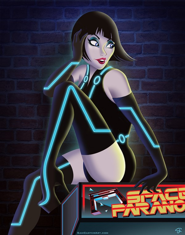 """FIRST PLACE: """"Quorra"""" part of POPcade's Video Game Vixen Pin Up series. 11""""x14"""""""