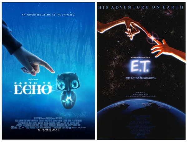 Notes the similarities in the movie posters for earth to echo and e t