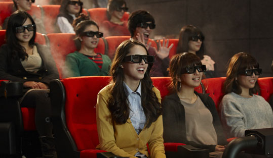Patrons in 4DX theatre