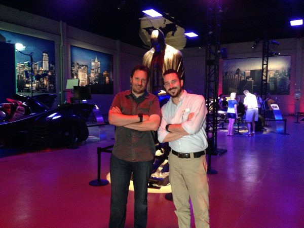 BTM Host Steve Czarnecki and WB VIP Tour Rep John Kourounis take a spin around the 75 Years of Batman Picture Car Vault