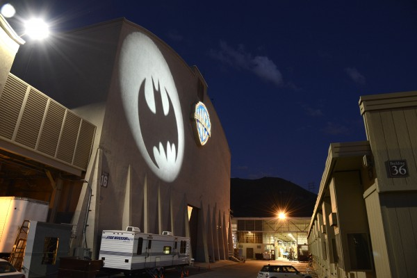 The Bat-signal shining upon Stage 16 at Warner Bros Studios / Photo Credit: Warner Bros. VIP Studio Tour