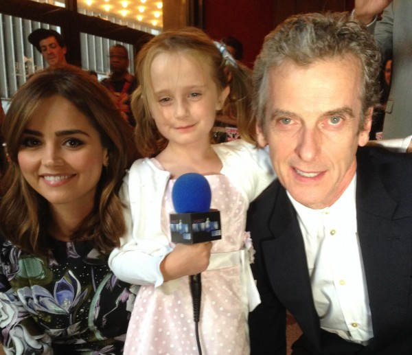 Jenna Coleman (Clara), Lindalee Rose and Peter Capaldi (the Doctor)