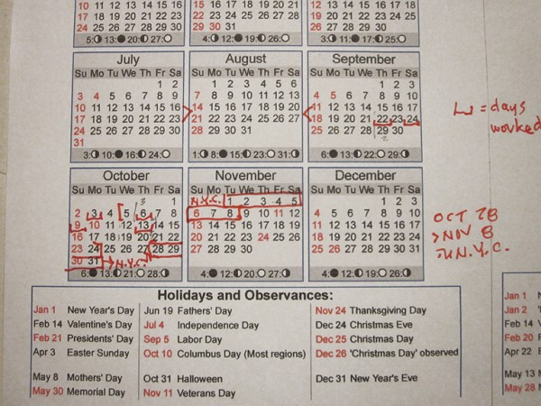 Dane's 1983 work calendar for Ghostbusters
