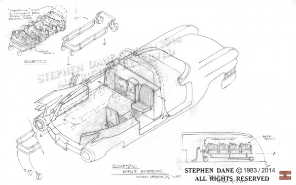 Ecto-1 sketch showing Dane's design for the Proton Pack Gurney