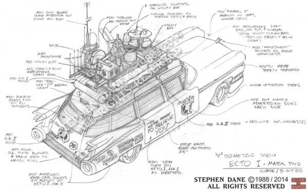 Detailed isometric of the Ecto-1A from 'Ghostbusters II'