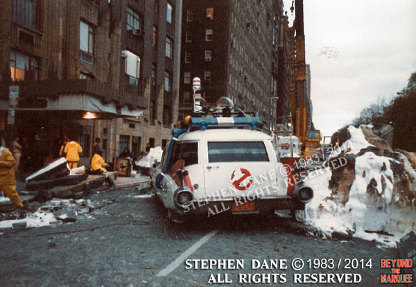 Ecto-1 dressed on set for the finale of 'Ghostbusters'