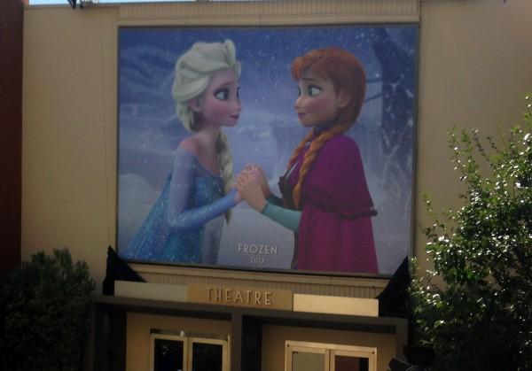 Elsa and Anna adorn the top of the Walt Disney Studios theater