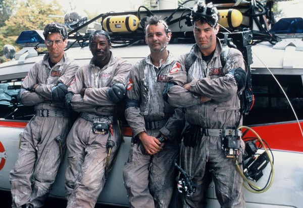 The cast of 'Ghostbusters' with the Ecto-1