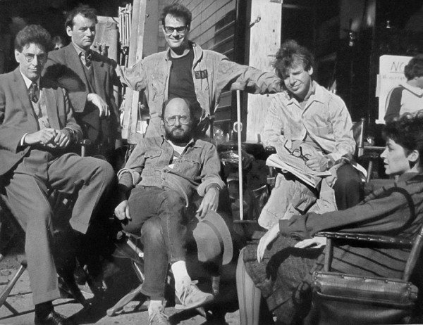 On set. (L-R) Harold Ramis, Bill Murray, Dan Aykroyd, Rick Moranis, Annie Potts (Center) Joe Medjuck (photo courtesy: Joe Medjuck)
