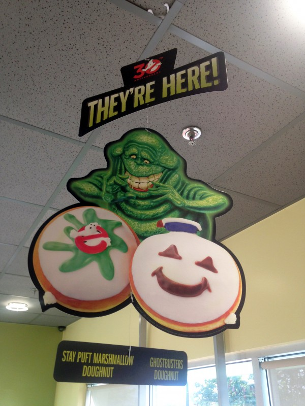 Slimer offers up your choice of Ghostbuster donuts.