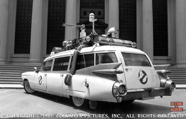 The Ecto-1 parked for Publicity photos in front of the 'Batman' courthouse on the Warner backlot