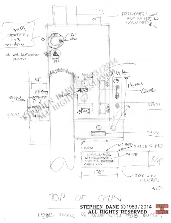 Early sketch of the top of the Neutrona Wand