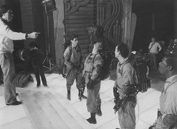 Ivan Reitman directs the cast on the Gozer Temple set.
