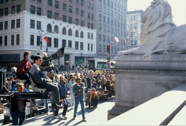 Ivan Reitman directs outside the New York Public Library.