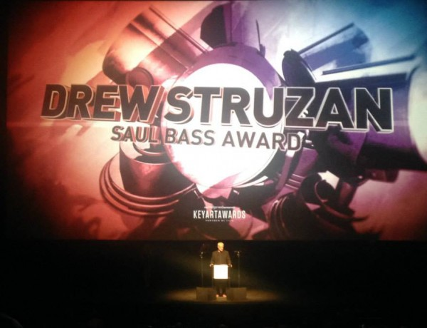 Drew takes to the stage at the Dolby Theatre to deliver his speech