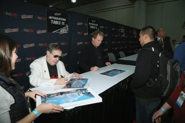 Syd Mead (L) and Brad Bird attend 2014 New York Comic Con