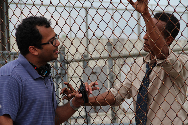 Writer and Director Jesse Quinones with Andre Royo on set of Calloused Hands
