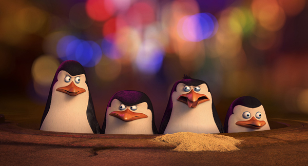 Kowarski (voice Chris Miller), Skipper (voice Tom McGrath) , Rico and Private (voice Christopher Knights)