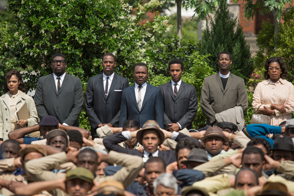 Background left to right: Tessa Thompson plays Diane Nash, Omar Dorsey plays James Orange, Colman Domingo plays Ralph Abernathy, David Oyelowo plays Dr. Martin Luther King, Jr., André Holland plays Andrew Young, Corey Reynolds plays Rev. C.T. Vivian, and Lorraine Toussaint plays Amelia Boynton in SELMA