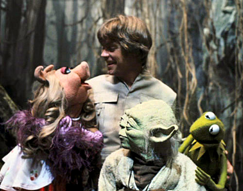 Luke with Yoda and Muppets