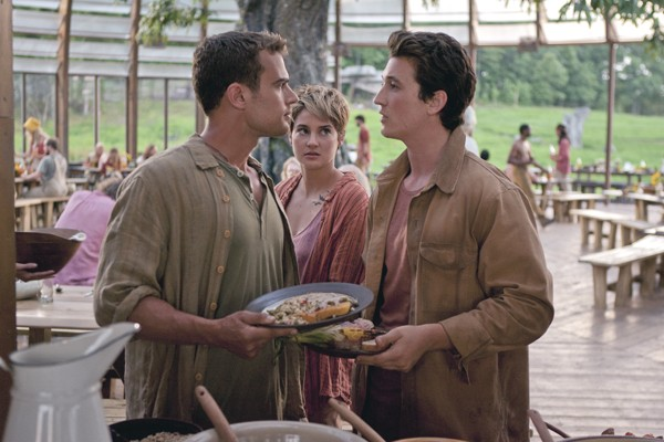 Four (Theo James), Tris (Shailene Woodley) confront  Peter (Miles Teller) in INSURGENT